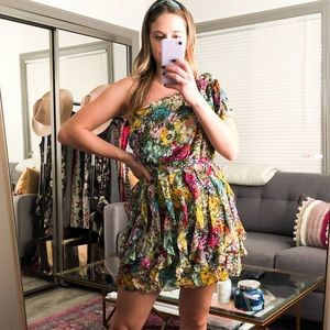 Floral One Shoulder Ruffle Mini Dress Size Small